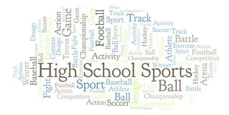 High School Sports word cloud. Made with text only. Stock Photo