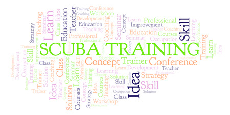 Scuba Training word cloud. Wordcloud made with text only. Stock Photo