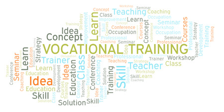 Vocational Training word cloud. Wordcloud made with text only. Foto de archivo - 110204682