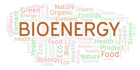 Bioenergy word cloud. Wordcloud made with text only. Stock fotó