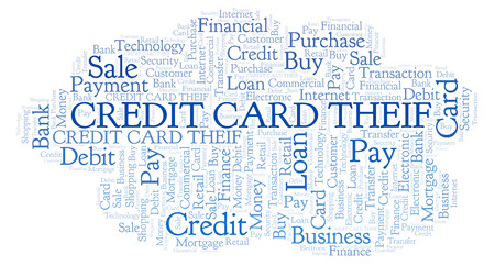 Credit Card Theif word cloud. Wordcloud made with text only.