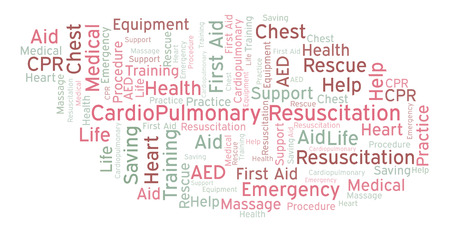 CardioPulmonary Resuscitation word cloud, made with text only