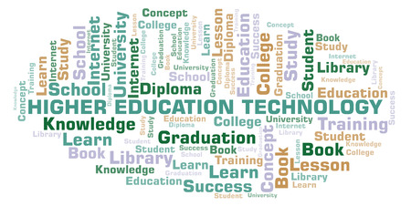 Higher Education Technology word cloud, wordcloud made with text only.
