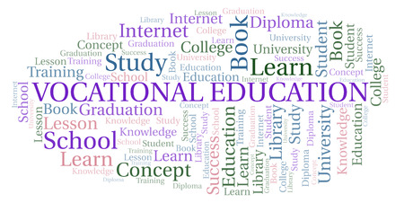 Vocational Education word cloud, wordcloud made with text only. Stock Photo