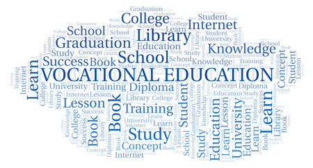Vocational Education word cloud, wordcloud made with text only. Foto de archivo - 110520609