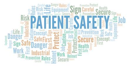 Nube di parola di sicurezza del paziente. Nuvola di parole realizzata solo con testo. Archivio Fotografico