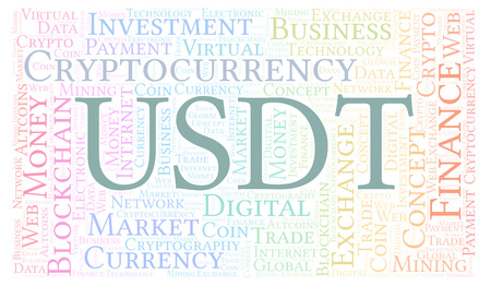USDT or Tether cryptocurrency coin word cloud. Word cloud made with text only. 版權商用圖片