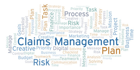Claims Management word cloud, made with text only