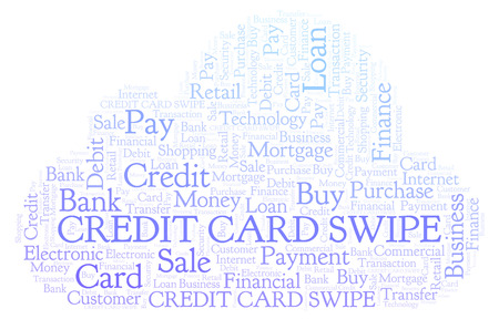 Credit Card Swipe word cloud. Wordcloud made with text only. Stock Photo
