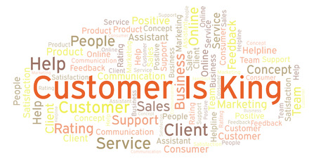 Customer Is King word cloud. Made with text only.