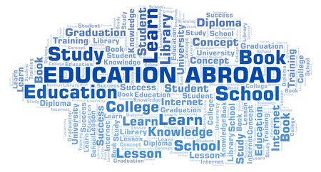 Education Abroad word cloud, wordcloud made with text only.