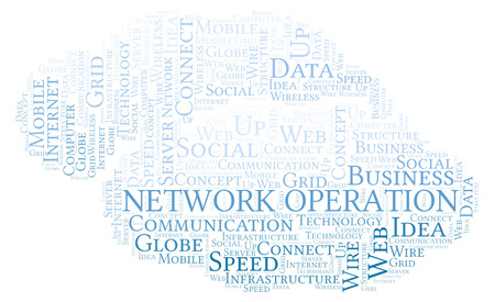 Network Operation word cloud. Word cloud made with text only.