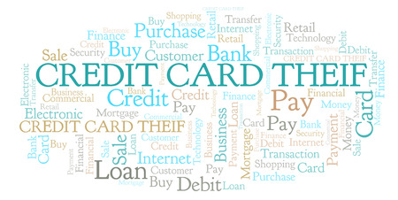 Credit Card Theif word cloud. Wordcloud made with text only. 스톡 콘텐츠