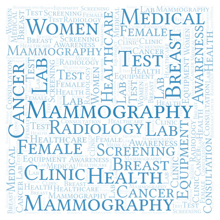 Mammography  in a shape of square word cloud. Wordcloud made with text only.