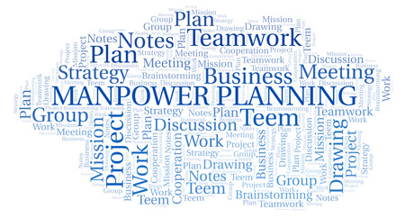 Manpower Planning word cloud, wordcloud made with text only. 스톡 콘텐츠