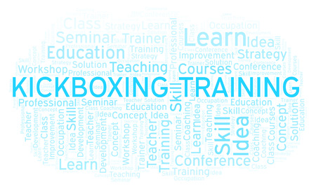 Kickboxing Training word cloud. Wordcloud made with text only.