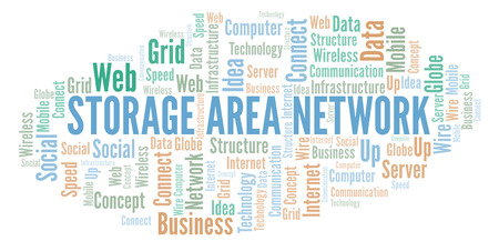 Storage Area Network word cloud. Word cloud made with text only.