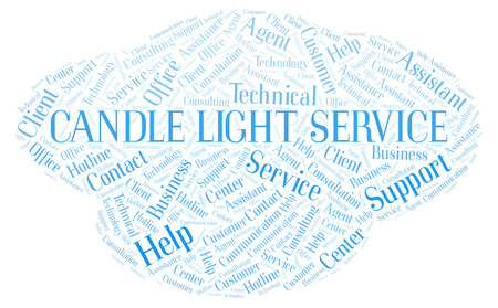 Candle Light Service word cloud. Wordcloud made with text only. Stock Photo