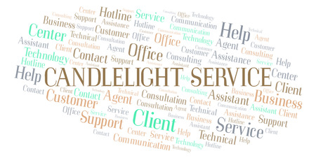 Candlelight Service word cloud. Wordcloud made with text only.