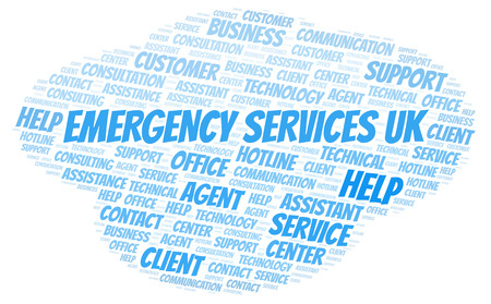 Emergency Services Uk word cloud. Wordcloud made with text only. Stock Photo