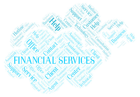 Financial Services word cloud. Wordcloud made with text only. Stock Photo