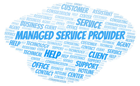 Managed Service Provider word cloud. Wordcloud made with text only.
