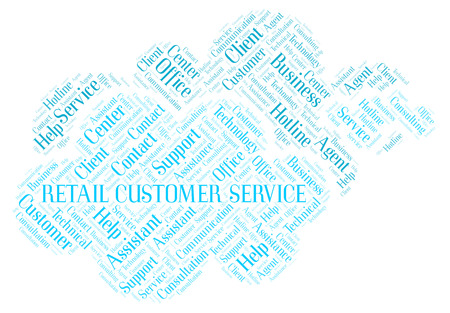 Retail Customer Service word cloud. Wordcloud made with text only. Stock Photo