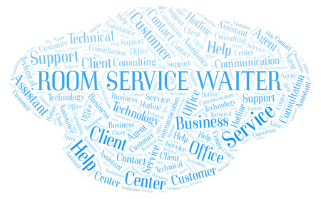 Room Service Waiter word cloud. Wordcloud made with text only.
