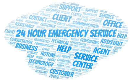 24 Hour Emergency Service word cloud. Wordcloud made with text only. Stock Photo