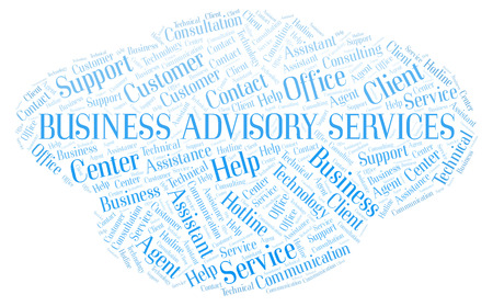 Business Advisory Services word cloud. Wordcloud made with text only.