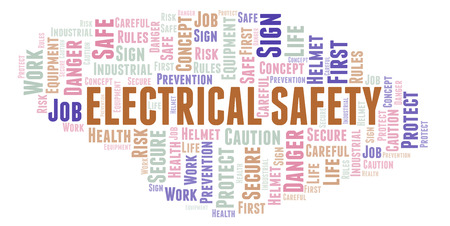Electrical Safety word cloud. Word cloud made with text only.