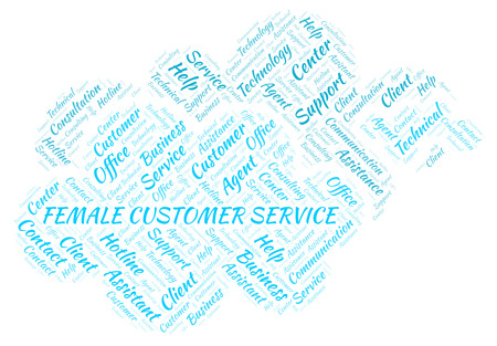 Female Customer Service word cloud. Wordcloud made with text only. Stock Photo