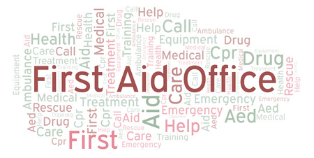 First Aid Office word cloud, made with text only Stock Photo