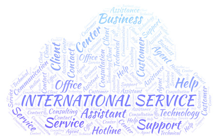 International Service word cloud. Wordcloud made with text only. Stock Photo