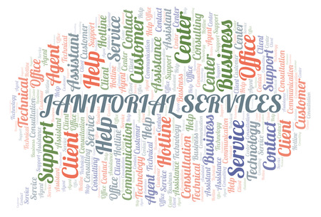 Janitorial Services word cloud. Wordcloud made with text only. Stock Photo