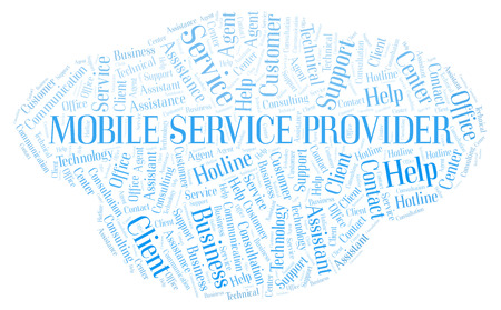 Mobile Service Provider word cloud. Wordcloud made with text only.