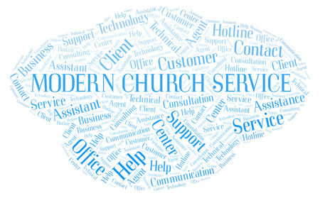 Modern Church Service word cloud. Wordcloud made with text only.