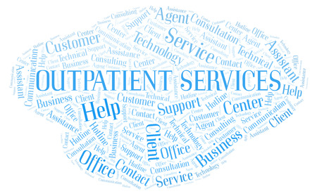 Outpatient Services word cloud. Wordcloud made with text only. Stock Photo