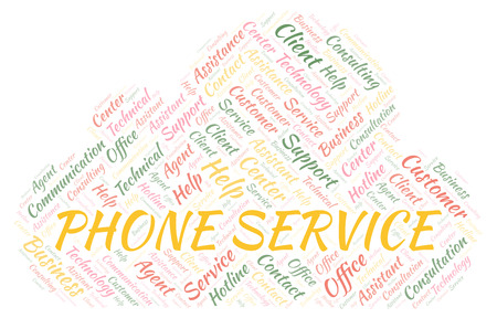 Phone Service word cloud. Wordcloud made with text only.
