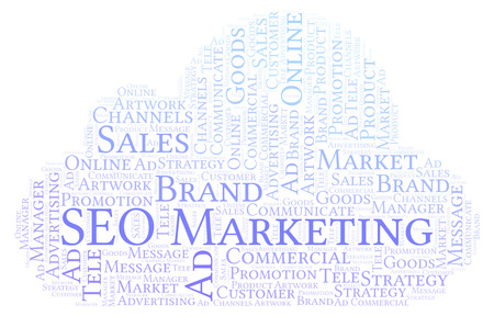 Word cloud with text SEO Marketing. Wordcloud made with text only. Stock Photo