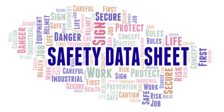 Safety Data Sheet word cloud. Word cloud made with text only.