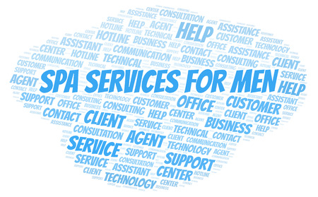 Spa Services For Men word cloud. Wordcloud made with text only. Stock Photo