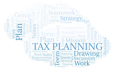 Tax Planning word cloud, wordcloud made with text only. Reklamní fotografie