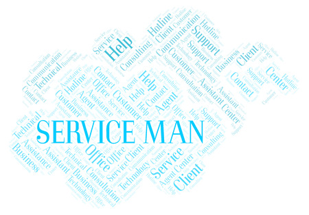 Service Man word cloud. Wordcloud made with text only.