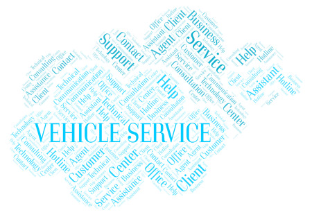 Vehicle Service word cloud. Wordcloud made with text only.
