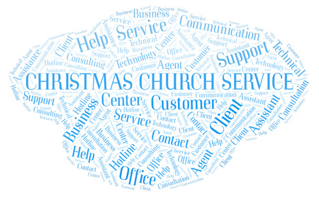 Christmas Church Service word cloud. Wordcloud made with text only.