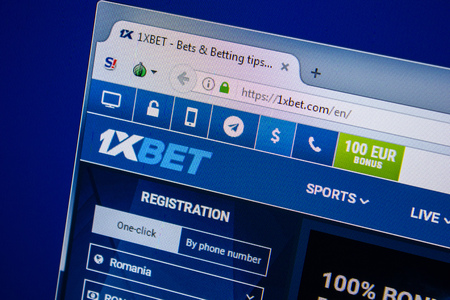 Ryazan, Russia - July 24, 2018: Homepage of 1xbet website on the display of PC. Url - 1xbet.com Editorial