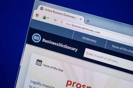 Ryazan, Russia - July 24, 2018: Homepage of BusinessDictionary website on the display of PC. Url - BusinessDictionary.com