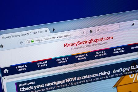 Ryazan, Russia - July 25, 2018: Homepage of MoneySavingExpert website on the display of PC. Url - MoneySavingExpert.com