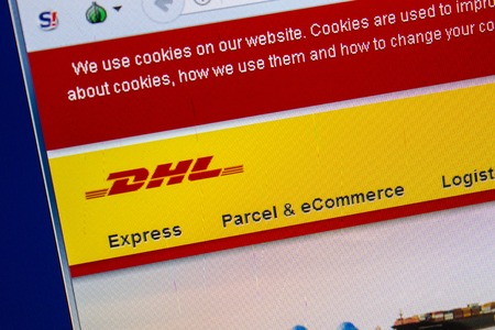 Ryazan, Russia - July 25, 2018: Homepage of DHL website on the display of PC. Url - DHL.com